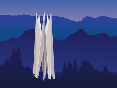 Soviet Modernism: Memorial in Dilijan | yerevan vector soviet modernism soviet print modernist architecture illustration graphic design armenia architecture