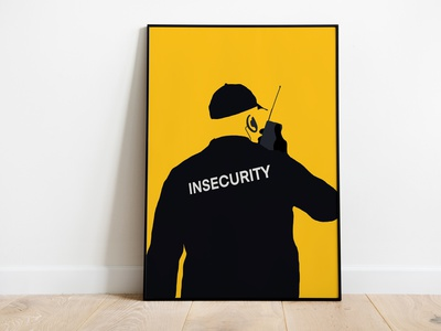 Insecurity black yellow poster design print design print poster insecurity security illustration graphic design