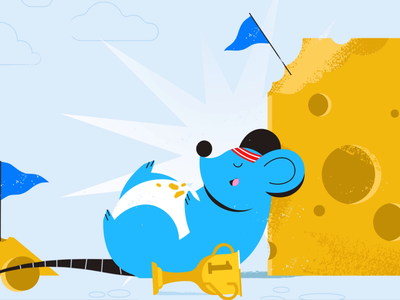 Mission accomplished goal cheese trophy mouse tech explainer business digital vector technology tech motion graphics motion illustration explainer design character animation animated explainer 2d