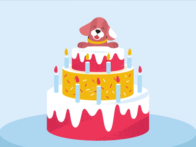 Birthday cake dog birthday cake tech explainer business digital vector technology tech motion graphics motion illustration explainer design character animation animated explainer 2d