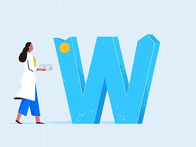 W for Work journey alphabet letter w tech explainer business digital vector technology tech motion graphics motion illustration explainer design character animation animated explainer 2d