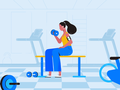 Healthy habits weights gym tech explainer business digital vector technology tech motion graphics motion illustration explainer design character animation animated explainer 2d