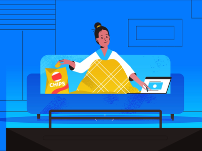 Home Office laptop sofa chips chillin homeoffice tech explainer business digital vector technology tech motion graphics motion illustration explainer design character animation animated explainer 2d