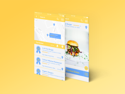 Early UI Concepts for Food App ranking system map ui maps map design ui design mobile ui delivery app food app food