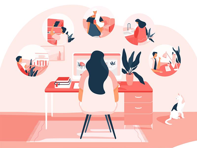 Upcoming Interior Design Animation design red pink cat illustration vector interior vera