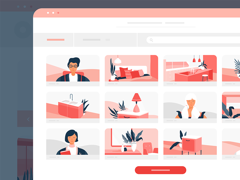 UI Screen for Interior Design Startup characters vector lunamik interior vera design animation
