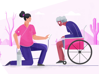 Healthcare pink purple patients staff elder nurse wheelchair adult health hospital explainer animation digital character vector 2d motion graphics illustration animation design branding