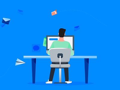 Stacking stack email notification message keyboard work desktop catch paperwork paperplane logo business digital character design vector 2d motion graphics illustration animation