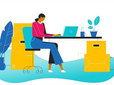 Freelancers cap womans woman coffee cup digital vector 2d illustration animation character shot photographer camera chair plants working laptop desktop app desktop home office
