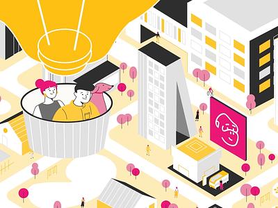Hot Air Ballon digital vector 2d motion graphics illustration animation energy fuchsia pink yellow bulb pointing buildings urban park city flying couple dog hot air ballon