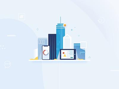 Digital City tech business design 2d vector motion graphics illustration animation data visualization costs socialmedia user digital urban city buildings graphs data