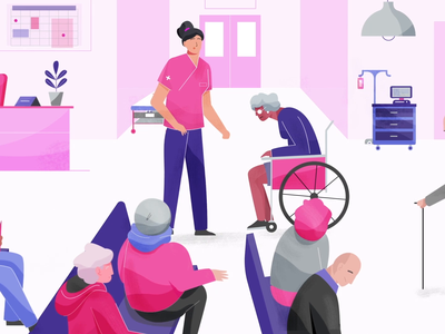 Hospital hospital health elder staff patients purple pink hair ui digital character technology 2d design vector motion graphics illustration animation