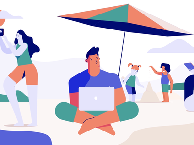 Beach Style summer vibes selfie wifi connection vpn remote work laptop summer sand beach business digital character technology design 2d vector motion graphics illustration animation