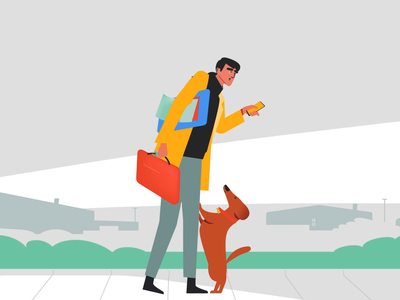 Cute Greeting digital technologu motion design vector 2d motion graphics illustration animation car dog illustration executive worker suitcase puppy home house dog