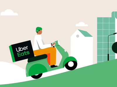 UberEats Delivery biker character tech design vector 2d motion graphics illustration animation food app delivery app green scooter buildings montain hill bike motorbike delivery ubereats