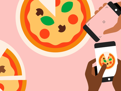 Pizza Time notes bags hands vectors 2d motion graphics illustration animation ubereats business photos scan orders reviews delivery food pizza mobile app phone mobile