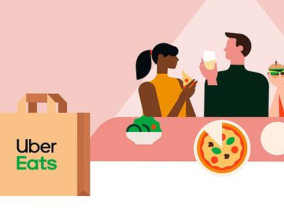 Dinner digital salad uber eats uber design pink bag delivery burger pizza dinner couple date characters vector 2d motion graphics illustration animation ubereats