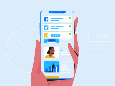 Whoops social media alerts notification debt numbers phone ui motion business digital character logo technology design vector 2d motion graphics illustration animation
