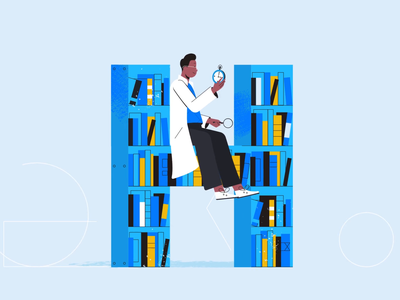 Today's letter is H. timepiece magnifying glass bookshelf books library tech explainer business digital vector technology tech motion graphics motion illustration explainer design character animation animated explainer 2d