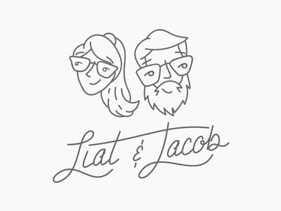 Liat And Jake couple glasses beard jacob liat line-work line vector lettering save the date wedding illustration