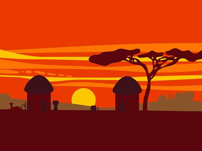 Africa Illustration for ARB Music africa landscape illustration
