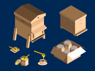 The Bee Business Illustrations 3d isometric honey beehive bee illustrations