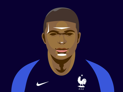 Kylian Mbappé Portrait vector graphic portrait photoshop illustrator illustration football equipedefrance kylianmbappe