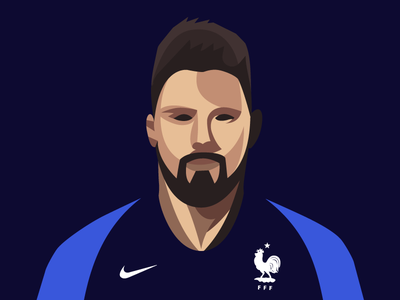 Portrait of Olivier Giroud olivier giroud worldcup vector oliviergiroud portrait photoshop illustrator illustration graphic football fifa equipe de france