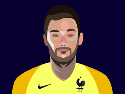Portrait of Hugo Lloris illustrator illustration vector clément ducerf wc2018 football world cup hugo lloris goal keeper goal