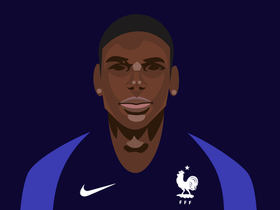 Portrait of Paul Pogba illustrator graphic equipe de france vectors illustration player french football world cup paul pogba
