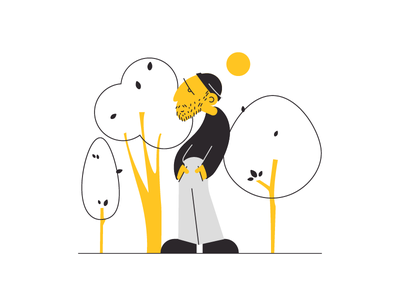 sunrise character concept sun hat beard tree guy yellow man lines design colorful character flat illustration