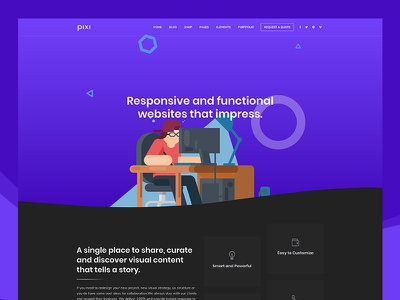 Pixi - Creative Multi-Purpose WordPress Theme seo portfolio one page theme multipurpose corporate wordpress agency business creative blog