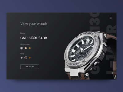 Watch Shop   Customize Product g-shock sport dark order option color cart customize black model clock product shop watch web design dailyui