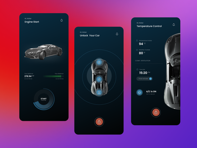 Car Assistant App top view on off switch lock temperature start light blue concept clean dark assistant monitoring car dailyui mobile design