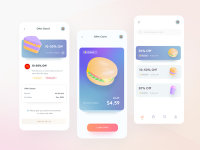 Special Offer glassmorphism gradient price clean illustration food and drink coffee hamburger pizza fastfood special offer coupon offer 3d product design mobile design