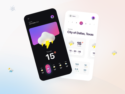 Weather App gradient 3d glassmorphism degree calendar thunder rainy weather dark black clean product design app design mobile design