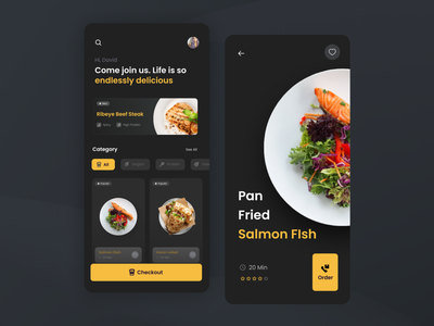 Food Menu dark mode yellow gold order checkout fish dishes food list menu product design mobile design daily ui