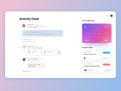 Activity Feed notification lists file clean tasks credit card activity feed product design dashboard web design