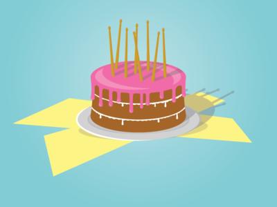 Drummers Cake drums drummsticks minimal vector illustration icon flat design