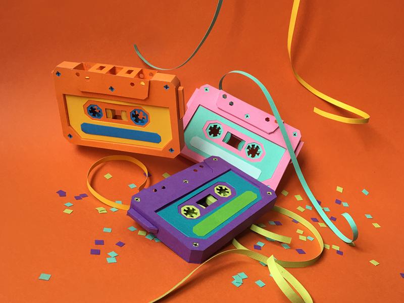Cassettes! confetti old school mixtapes cassettes handmade paper craft paper art paper
