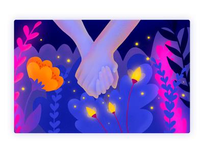 Hold Me Tight | Illustration magical avatar dark fireflies hands holding hands together jungle night bulgarian ipad design ui procreate illustration