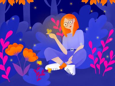 Enjoy the Nature | Illustration orange purple bright colors dark vr millenial glasses fireflies night forest ui illustration butterfly girl character design character nature bulgarian procreate bulgaria illustration