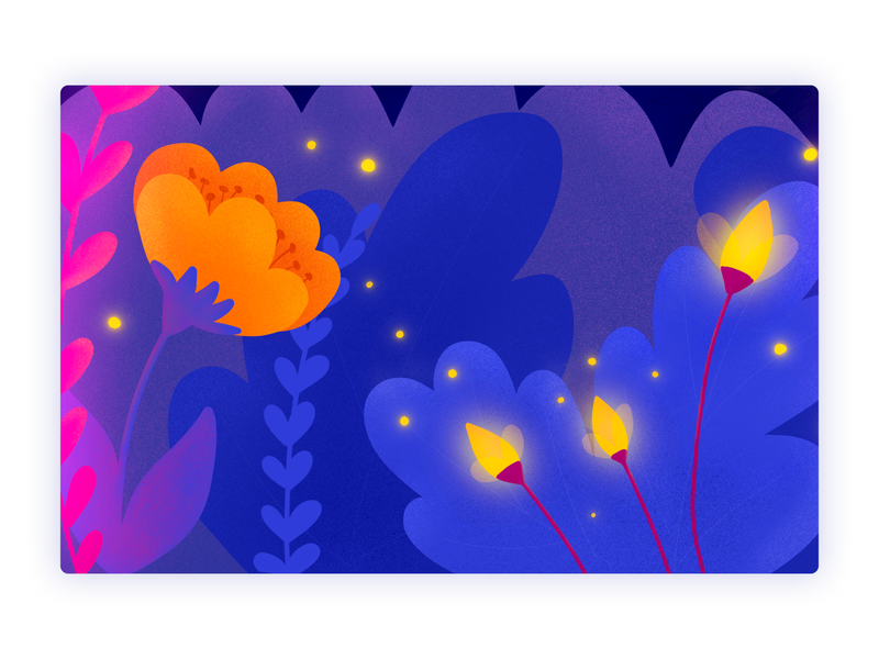 Trough the Jungle | Background Illustration orange blue purple background art background design fireflies plants colorfull bright colors natureboy environment design game design environment background ui procreate bulgarian bulgaria illustration