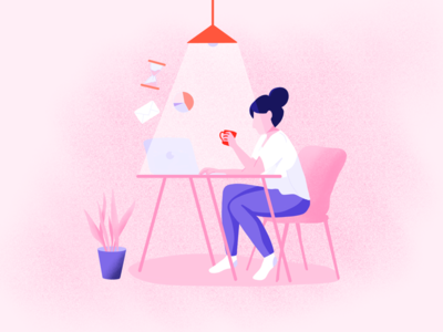 Home office | Illustration stay at home home woman girl sitting tasks illustration coffee table work from home work pandemic life corona corona virus covid19