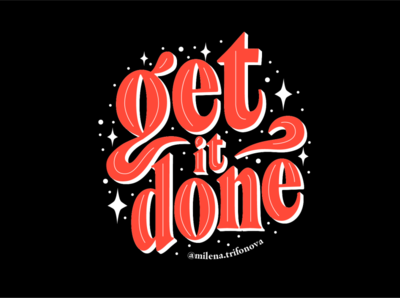 Get it done | Lettering work work from home black red motivational quotes to do done get get it done motivation icon vector design branding ui logo typography type lettering illustration