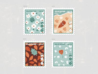Stamps Four Seasons in Bulgaria   Illustration lettermark deliver postal postage postal service postage stamp bulgarian bulgaria spring winter autumn summer letter card postcard post seasons stamps illustration