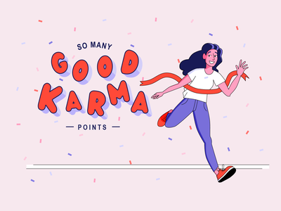 Good Karma Points Thank You Page | Illustration marathon run finish finish line points karma good good work good job thank you page page thank you thanks thankyou bulgarian typography bulgaria type lettering illustration