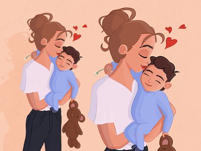 The Joy of Motherhood | Illustration anime girl character design toddler motherhood love child hug mama mom mother love mother woman character character illustration character art procreate bulgarian illustration