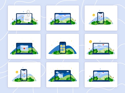 Eco Technology Icons | Illustration nature baloons landscape illustrator ecology eco email laptop computer phone technology devices device tech vector logo bulgaria illustration