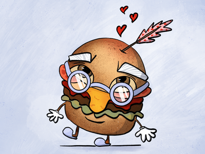Mr. Burger Senior | Illustration character designs sandwiches burger menu burgers love shot arrow cupids arrow cupid inlove mister character design sandwich burger blue design procreate character bulgaria illustration
